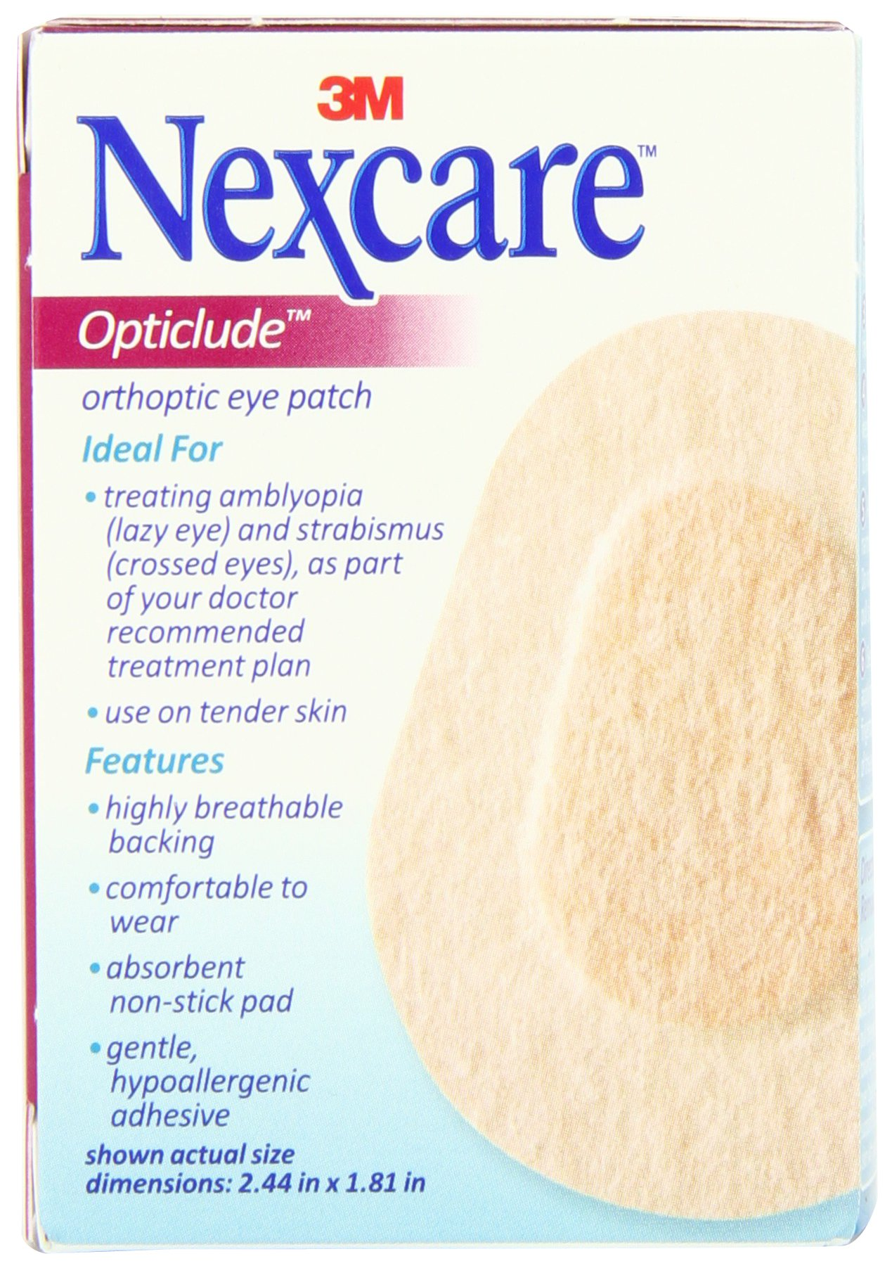 Nexcare Opticlude Orthoptic Eye Patches, Junior Size, 20-Count Boxes (Pack of 4) by Nexcare (Image #2)