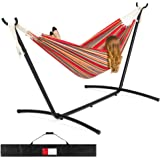 Best Choice Products 2-Person Indoor Outdoor Brazilian-Style Cotton Double Hammock Bed w/Carrying Bag, Steel Stand, Red…