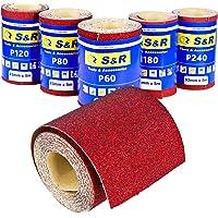 S&R Schuurpapierrolset, 5 rollen 93 mm x 5 m: korrel 60/80/120/180/240, voor hout, metaal, staal, roestvrij staal