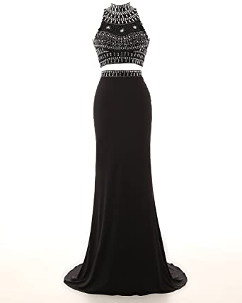KISSBRIDAL Womens Crystal Black Two Piece Long Party Prom Dresses For Juniors