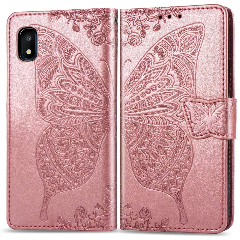COTDINFOR Galaxy A20E Coque Couverture Diamant Cute Robuste Double Couche De Silicone Protection Couche de Antichoc Protection Housse for Samsung Galaxy A10E A20E 2 in 1 Bling Rose Gold YB