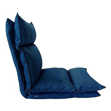 Rebecca Mobili Chaise De Meditation Fauteuil Yoga Bleu Jeans Metal Polyester Lecture Relax Salon Terrasse