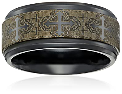 Black Titanium 9mm Comfort Fit Wedding Band with Cathedral Cross Design   Size 7 5Amazon com  Men s Black Titanium Comfort Fit Wedding Band with  . Mens Cross Wedding Band. Home Design Ideas