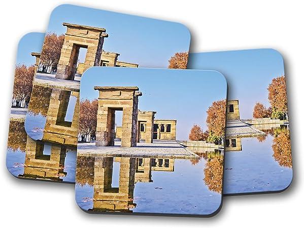 Juego de 4 posavasos con diseño del templo de Debod - Egipto Aswan Madrid España Viaje Divertido Regalo #8921: Amazon.es: Hogar
