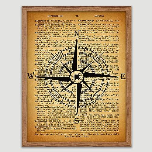 Amazon.com Compass Dictionary Book Page Poster Nautical Art