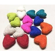 Yarn Place Felt Wool Felted Sculpted Hearts 16 Piece 8 Color 30mm (Joy Hearts)