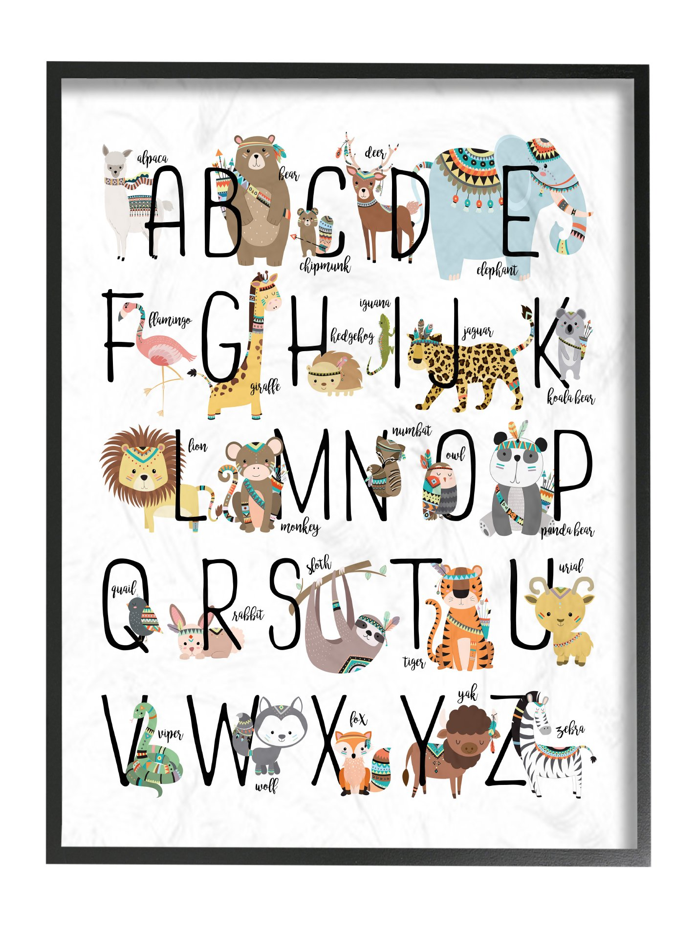 Stupell Home Décor Boho Animal ABCs Oversized Framed Giclee Texturized Art, 16 x 1.5 x 20, Proudly Made in USA
