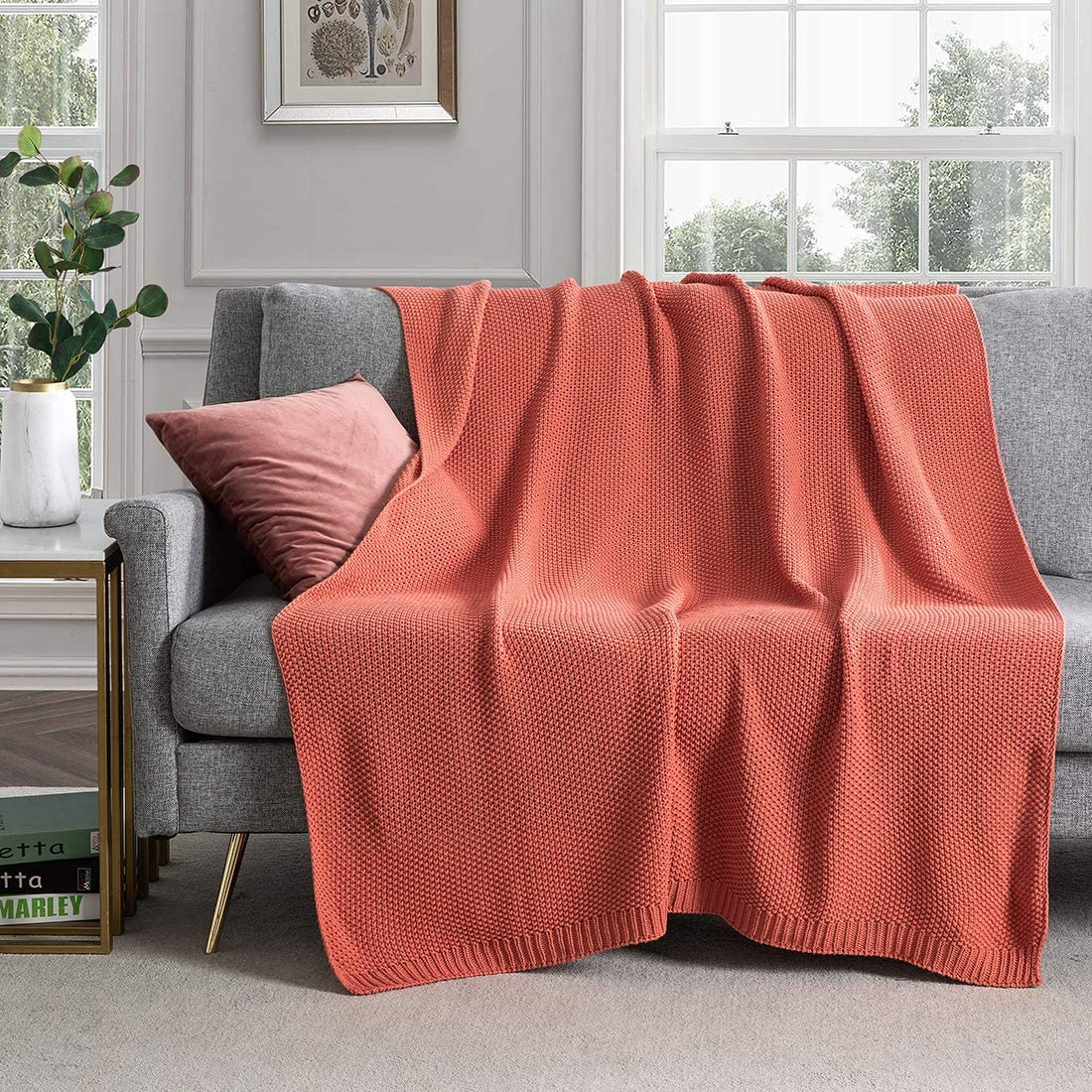 """Revdomfly Rust Knitted Throw Blanket for Couch, 100% Cotton Cable Knit Throw Blanket Soft Cozy Decorative Sofa Chair Blankets, 50"""" x 60"""", Rust"""