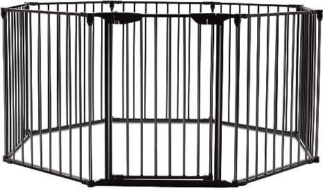 COSTWAY Barrera de Seguridad para Chimenea Reja de Protección para Niño Metal Plegable Seguridad para Puerta Escalera 5M (Negro): Amazon.es: Bebé