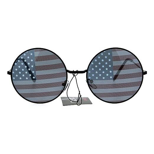 9f4df01525 USA American Flag Print Round Circle Lens Retro Hippie Metal Rim Sunglasses  Black