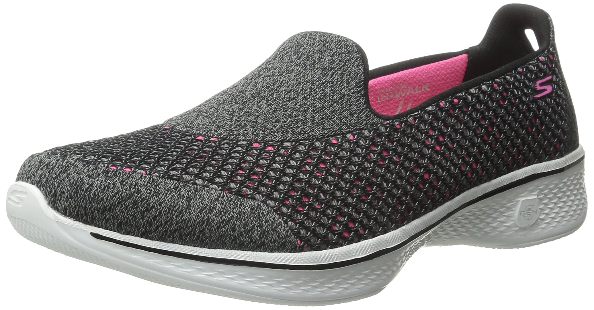 Skechers Performance Women's Go Walk 4 Kindle Slip-On Walking Shoe,Black/Hot Pink,5.5 M US