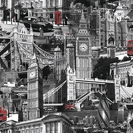 Amazoncom Muriva London City Wallpaper Black White Red