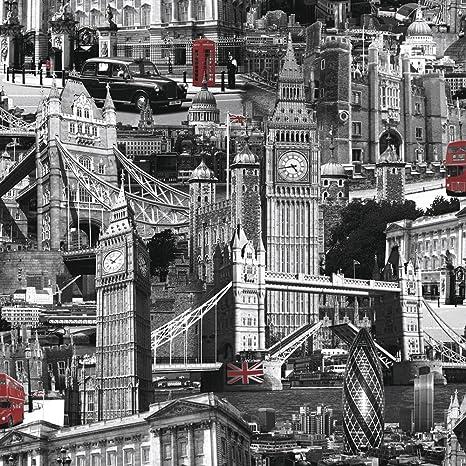Amazoncom Muriva London City Wallpaper Black White Red