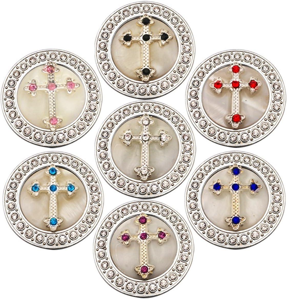 Reizteko Purse Hook, Rhinestone Religious Cross Foldable Handbag Purse Hanger Hook Holder for Tables (Pack of 7)