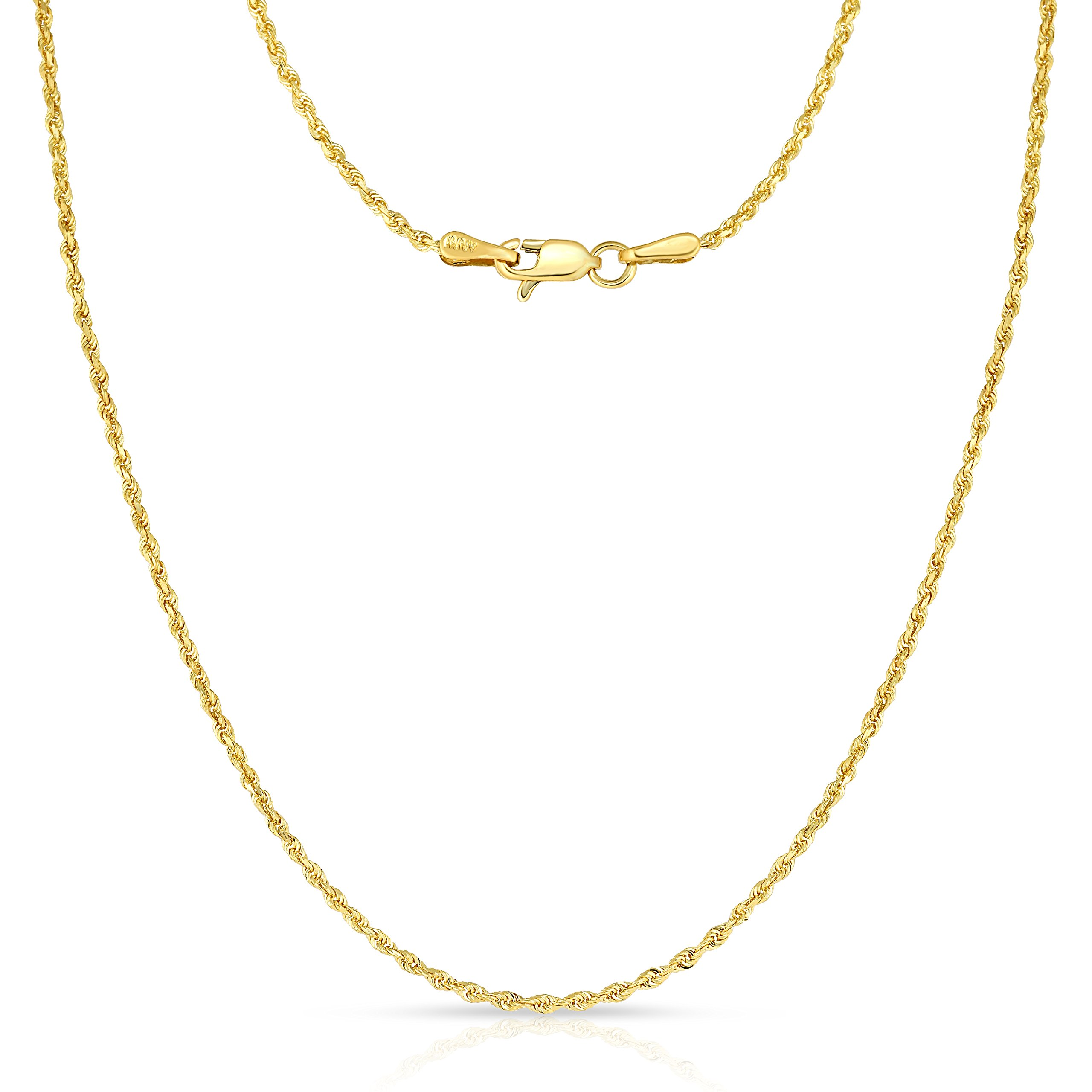20 Inch 10k Yellow Gold Thin Solid Diamond Cut Rope Chain Necklace, 1mm