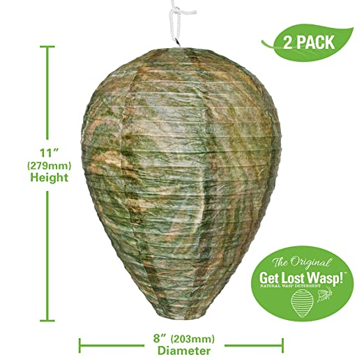 FMI Brands Inc. Original Get Lost Wasp Natural and Safe Non-Toxic Hanging Wasp Deterrent - for Wasps Hornets Yellowjackets, 2-Pack Effective ...