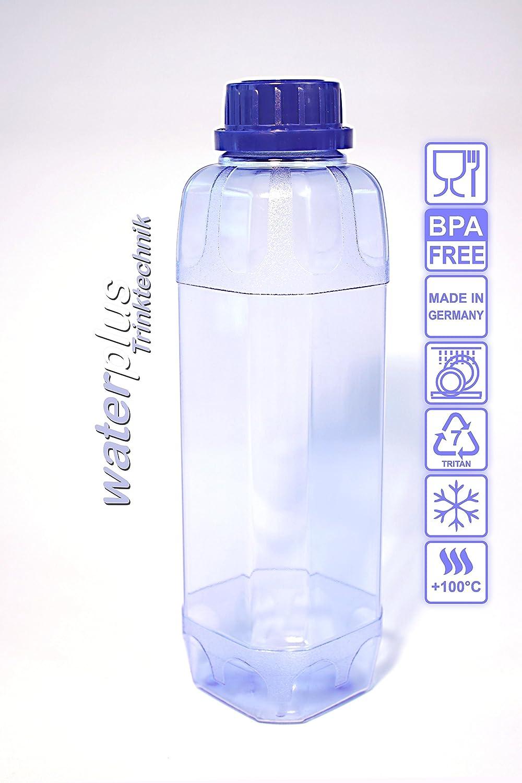 2 x TRITAN Trinkflasche 1,0 Liter (eckig) + 2 Dichtdeckel (CO2 ...