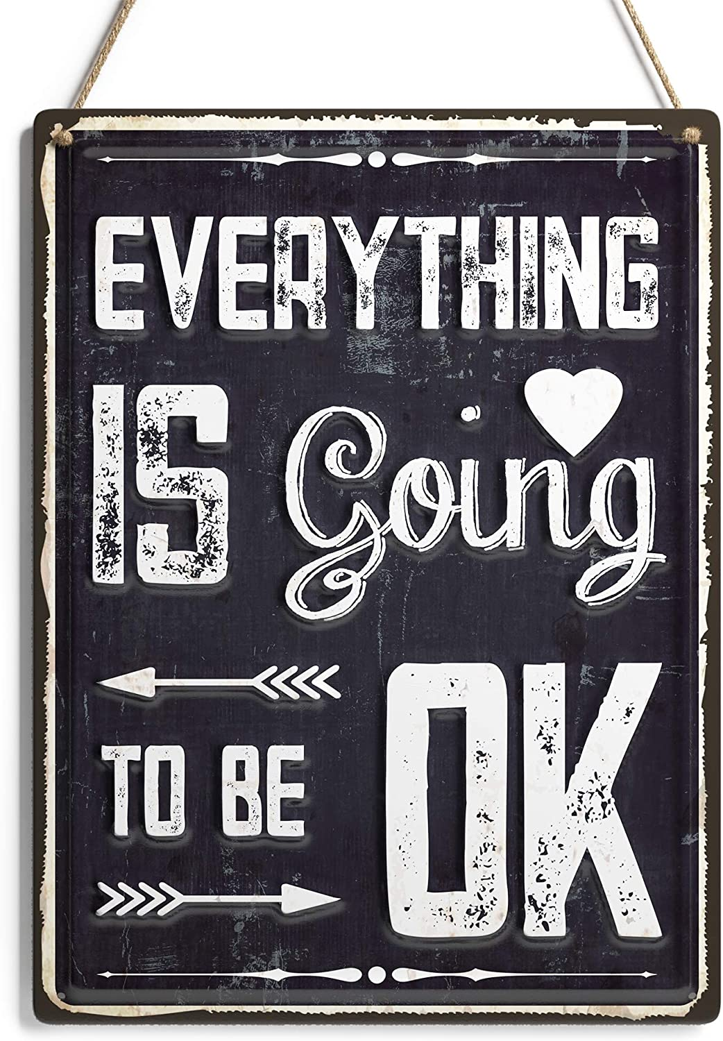 """Modern Market 'Everything is Going to Be Ok' Wall Art Sign, Rustic Farmhouse Inspirational Quote Sign, Kitchen, Bathroom or Living Room Home Decor, 12"""" x 16"""""""