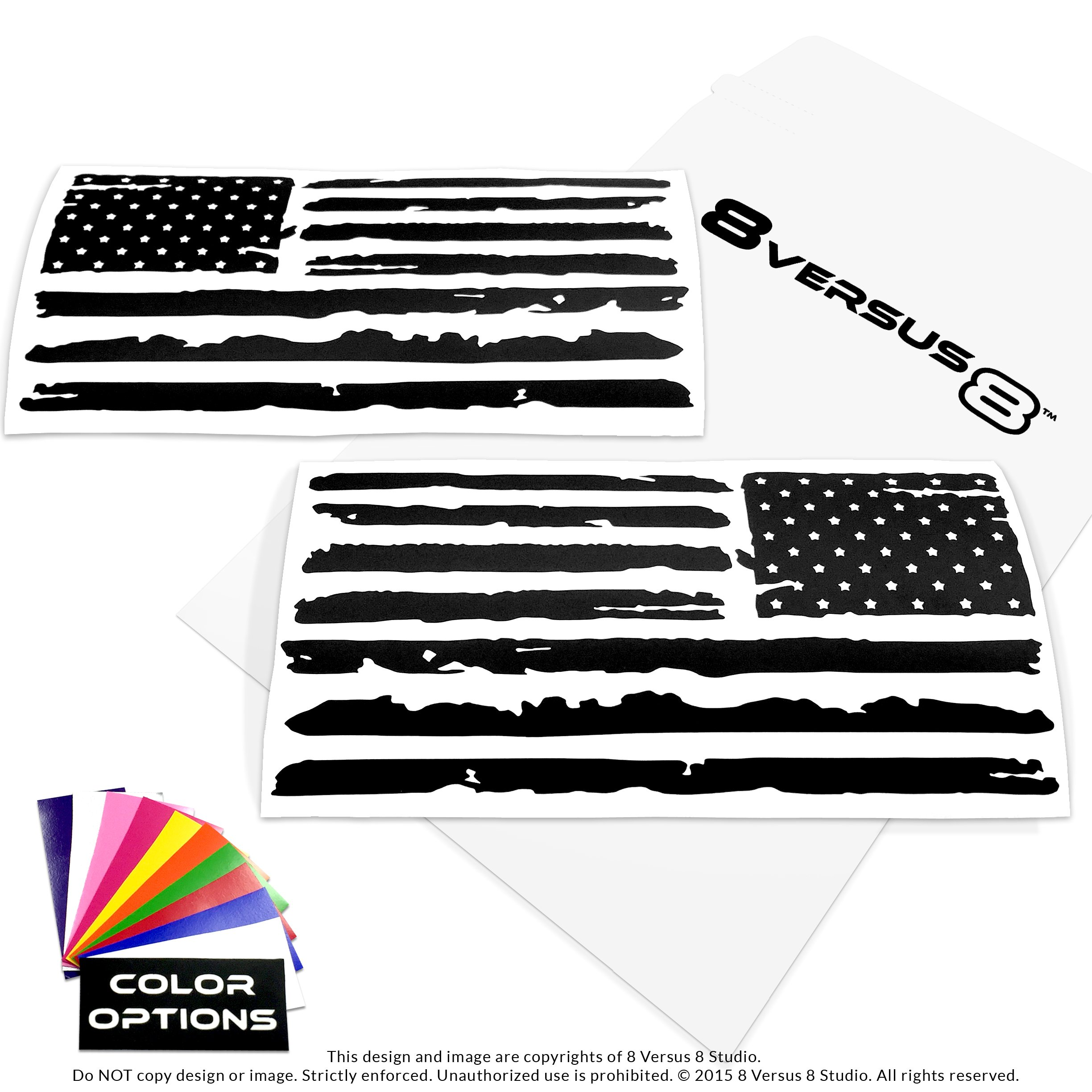 Distressed Flag Decal Sticker - Quantity: 2 - Indoors or Outdoors - Cars, Laptops, Walls, Windows, etc. (6.5'' wide x 3.2'' tall, Matte Black (not glossy))