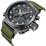 時計、メンズ腕時計デジタルアナログスポーツファッションウォッチ、多機能LED日付アラームレザー防水腕時計