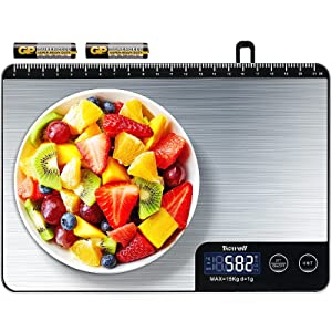 TICWELL Essential Food Scale 33lb Digital Kitchen Scale Weight Grams Oz for Cooking Baking Multifunction Food Scale 1g Precise Graduation 6 Units Button