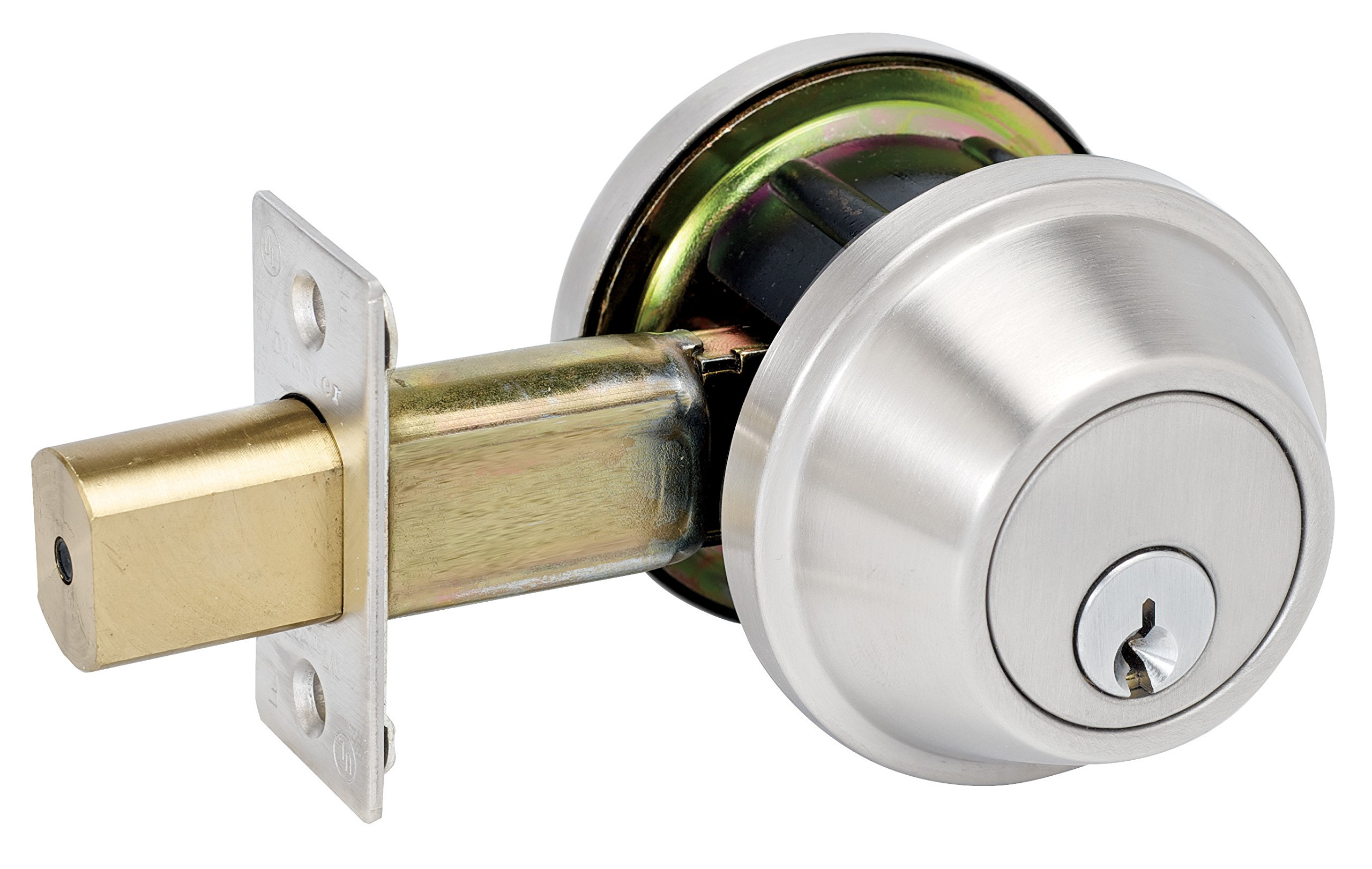 Master Lock DSCHSD32D Heavy Duty Single Cylinder, Grade 2 Commercial Deadbolt with Bump Stop, Brushed Chrome Finish