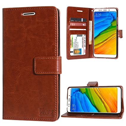 competitive price 497c5 ab8af DMG PU Leather ID Flip Cover Stand Case for Xiaomi Redmi 5 (ID Brown)