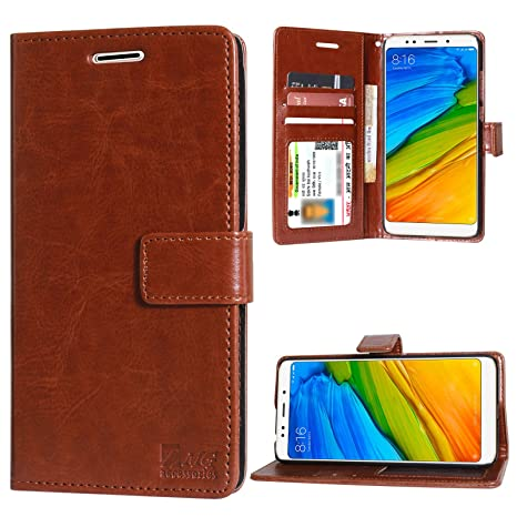 d99411e3325 DMG Leather Wallet Flip Cover Stand Case for Redmi Note 5 (Leather ID Brown)