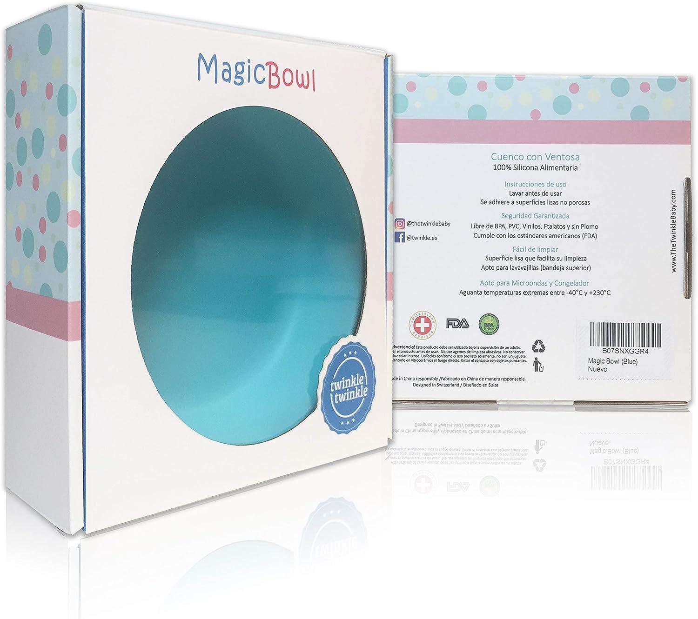 Magic Bowl Rosa Plato Infantil Antideslizante con Succion para BLW y Aprendizaje Bebes Bol de Silicona con Ventosa para Bebe Twinkle