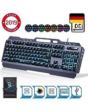 ⭐️KLIM™ Lightning – NEU 2019 – Hybrid Halbmechanische Tastatur QWERTZ DEUTSCH + sieben verschiedene Farben + 5-Jahre Garantie – Metallstruktur – Gamer Gaming-Tastatur für Videospiele PC PS4 Xbox One