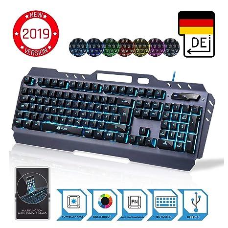 ??KLIM™ Lightning – NEU 2019 – Hybrid Halbmechanische Tastatur QWERTZ DEUTSCH + sieben verschiedene Farben + 5-Jahre Garantie