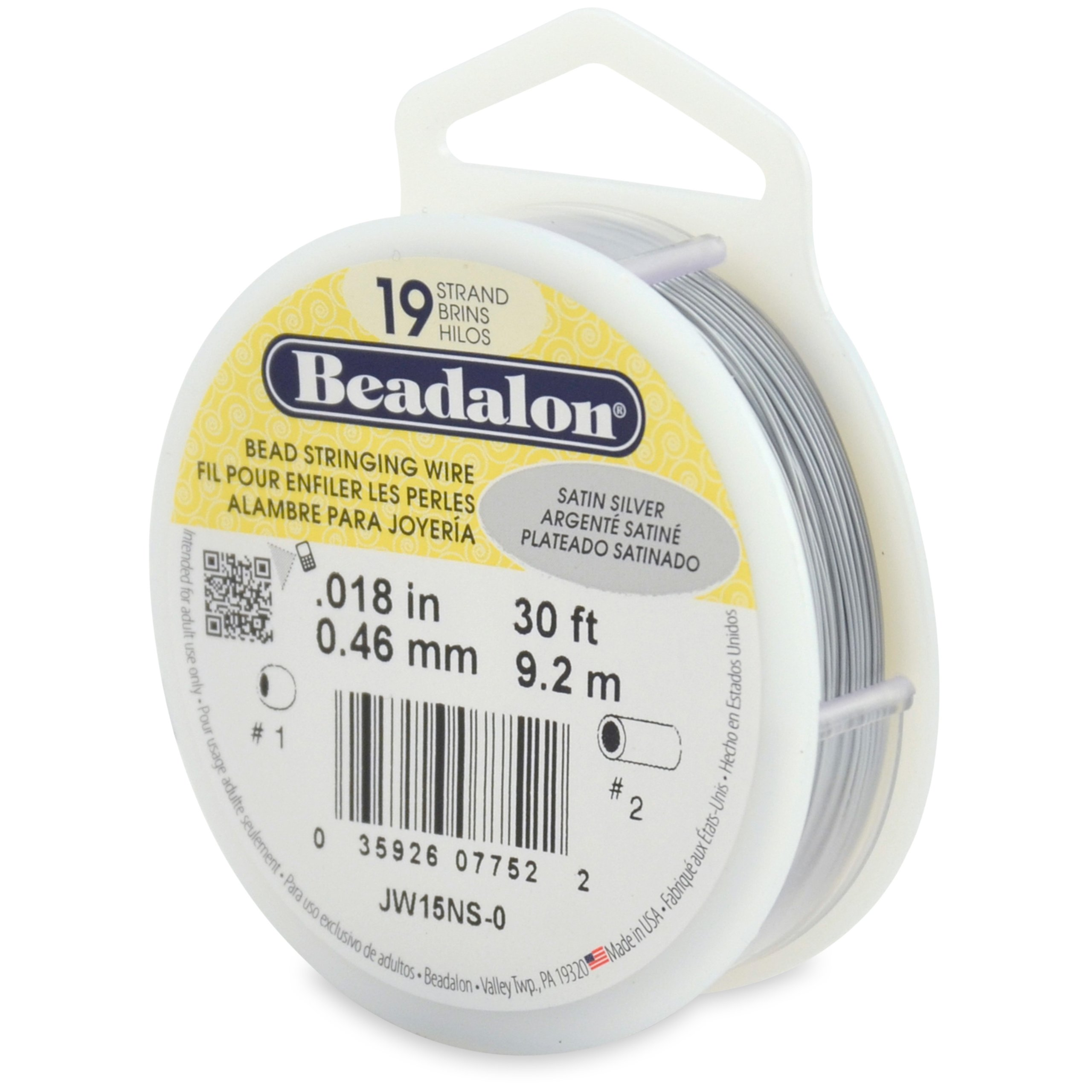 Beadalon 19-Strand Bead Stringing Wire, 0.018-Inch, Satin Silver, 30-Feet
