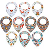 10-Pack Baby Bandana Bibs Upsimples Baby Boys Bibs for Drooling and Teething, Super Absorbent Bibs Baby Shower Gift…