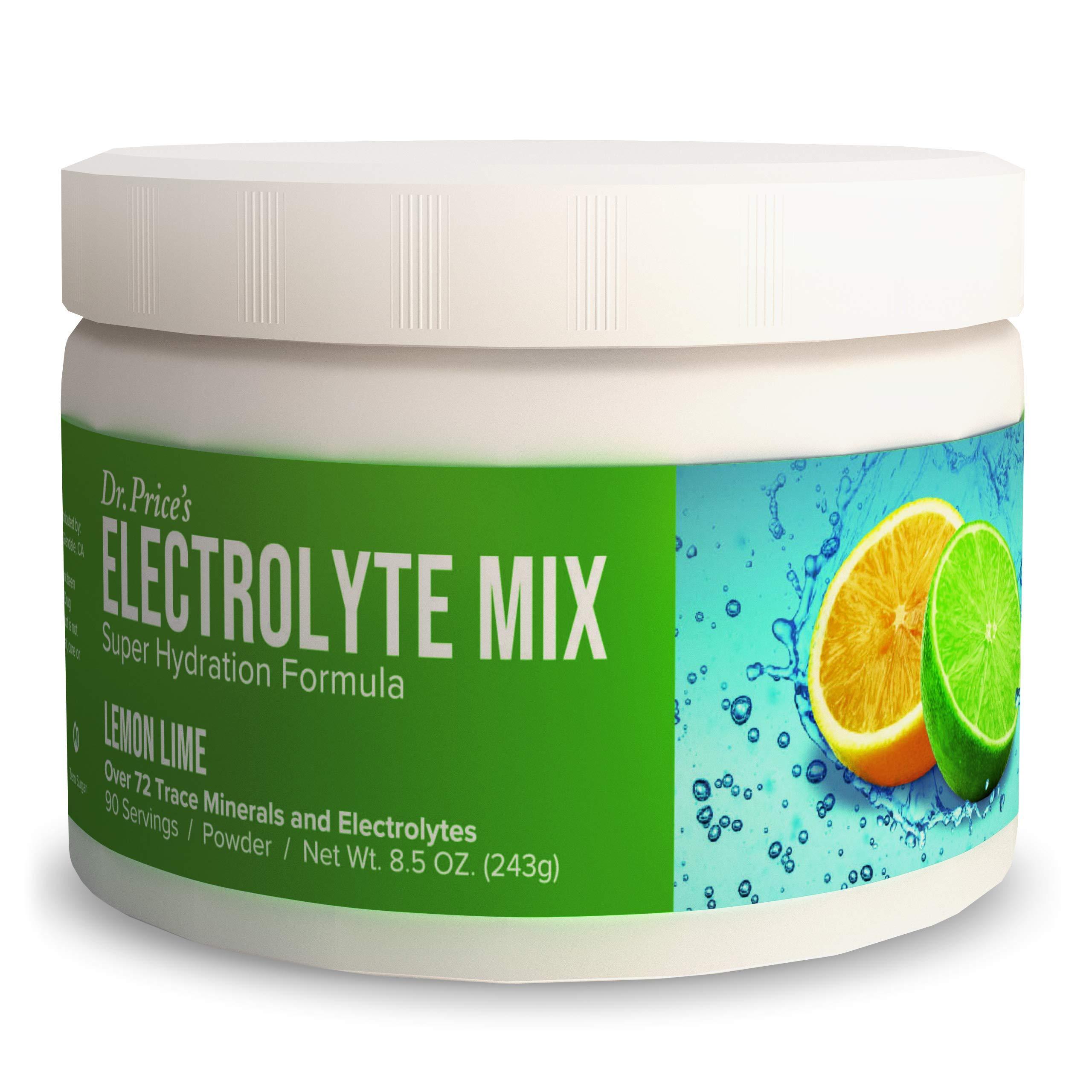 Electrolyte Mix Supplement Powder, 90 Servings, 72 Trace Minerals, Potassium, Sodium, Electrolyte Replacement Keto Drink   Lemon-Lime Flavor   Dr. Price's Vitamins, No Sugar, Vegan, Non-GMO