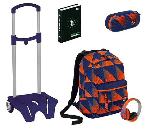 Kit escolar mochila + Easy Trolley + lápices + Diario Seven – Digital Naranja Azul –