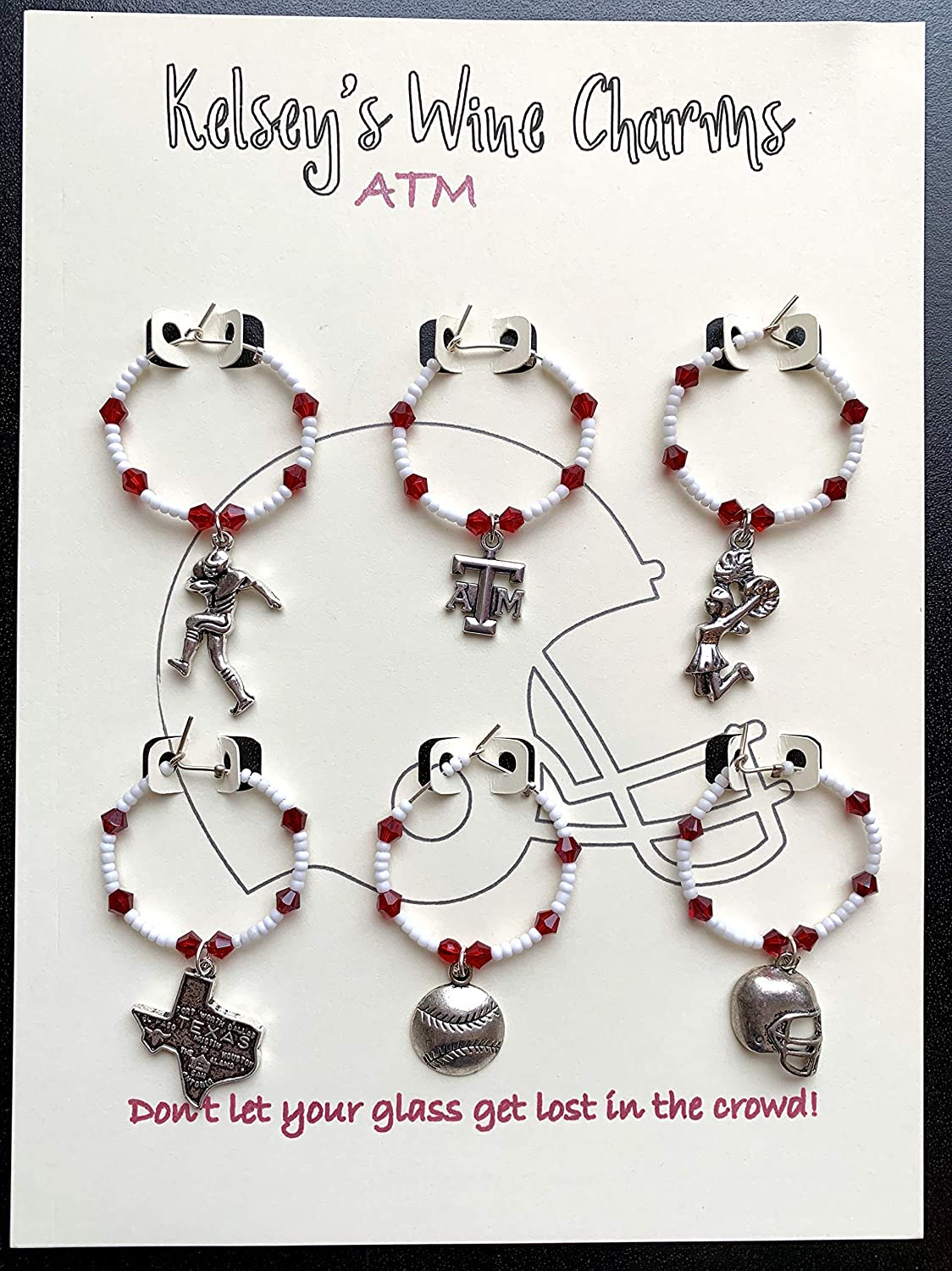 Texas ATM Themed Wine Glass Charms