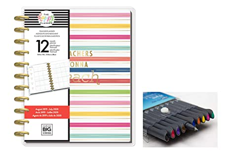 me & My Big Ideas Create 365 The Happy Planner Big Teacher: Teachers Gonna Teach 12 Month Planner, Aug 2019 - July 2020 Comes with Kemah Craft 10 pc ...