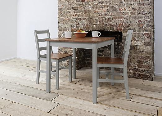Annika - Mesa de comedor y 2 sillas, color gris y pino natural ...