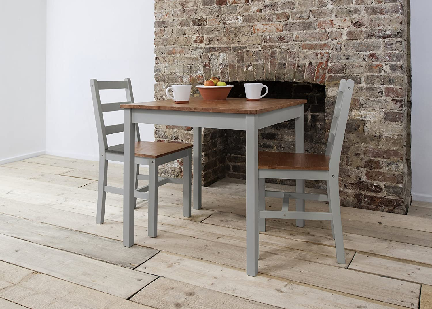 Annika Dining Table And 2 Chairs Bistro Set In Silk Grey And Natural Pine  Amazoncouk Kitchen U0026 Home