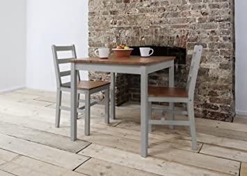 Annika Dining Table And 2 Chairs Bistro Set In Silk Grey And Natural