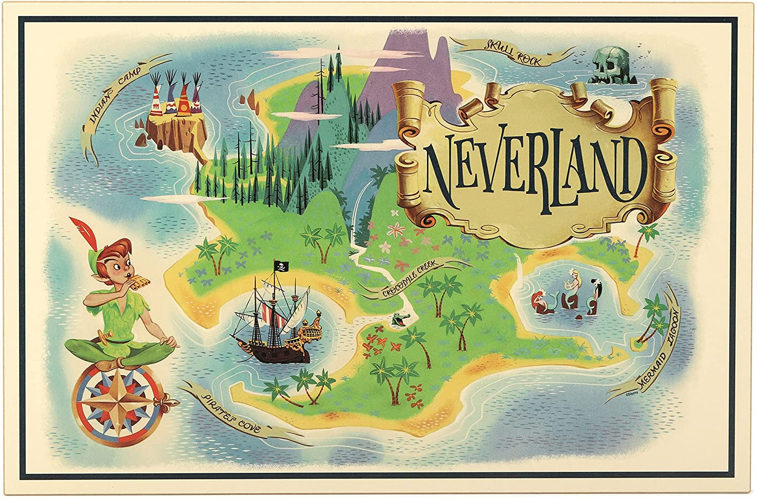 Open Road Brands Disney Peter Pan Neverland Map - Large 23.5 Inch x 15.5 Inch Wood Wall Decor for Kids' Room, Play Room, Bedroom, or Nursery