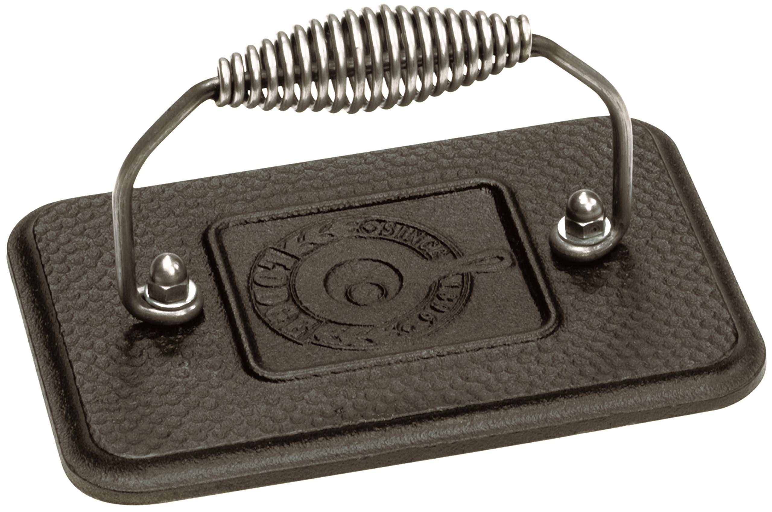 Lodge Rectangular Cast Iron Grill Press. 6.75 x 4.5'' Cast Iron Grill Press with Cool-Grip Spiral Handle.