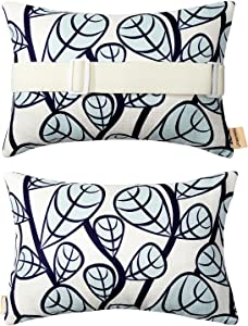 Patio Lounge Head Support Pillow & Cushion,Small Waterproof Throw Pillow with Insert & Adjustable Elastic Stripe for Outdoor Furniture Recliner Chair,Sunbrella Sofa Lumbar,Neck Attachment,2Pack