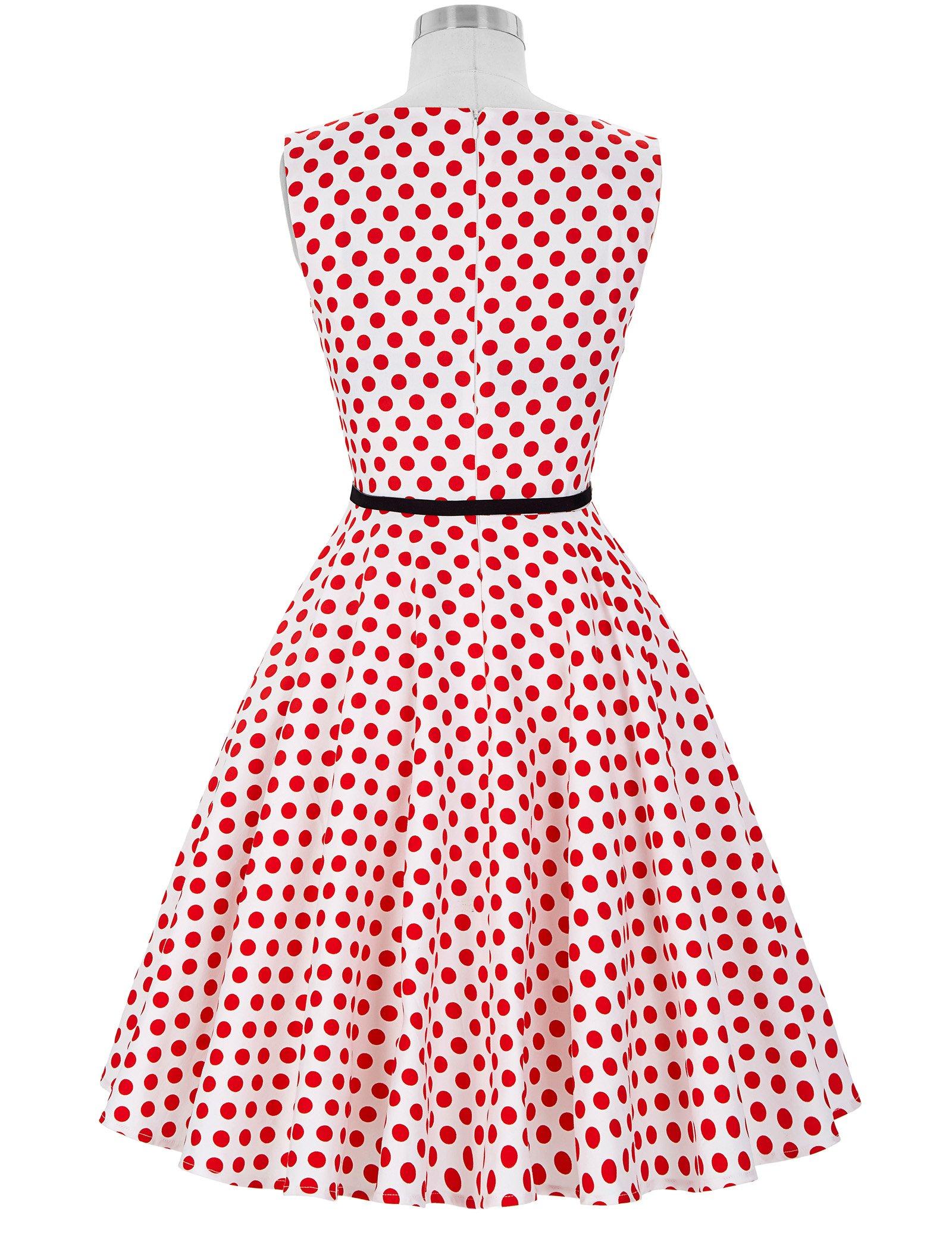 0bb235716c0b Galleon - Women Retro 50s Swing Dress Sleeveless Size 2XL F-44