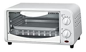 Courant TO-942W 4 Slice Countertop Toaster Oven with Bake and Broil Functions and 30 Minute Timer, White