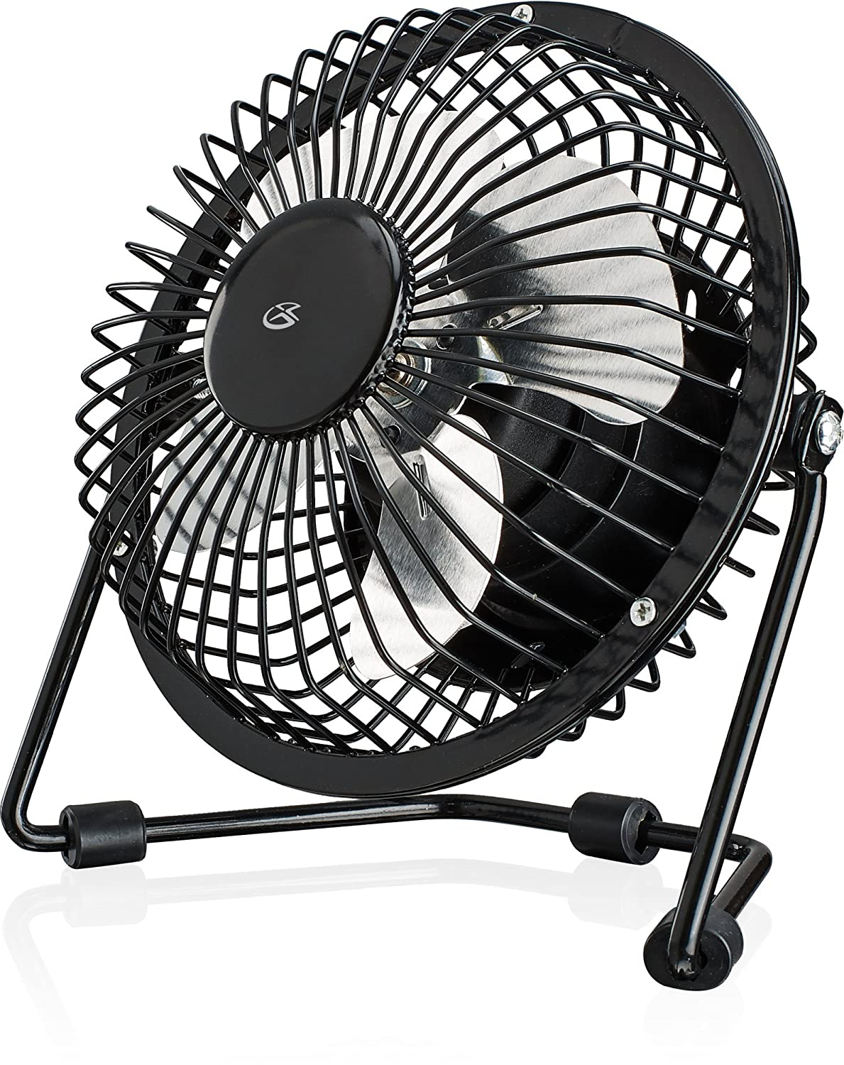 "GPX Mini 4"" USB Personal Fan, Compatible with Computers, Laptops, Portable Chargers, Black (AU25B)"