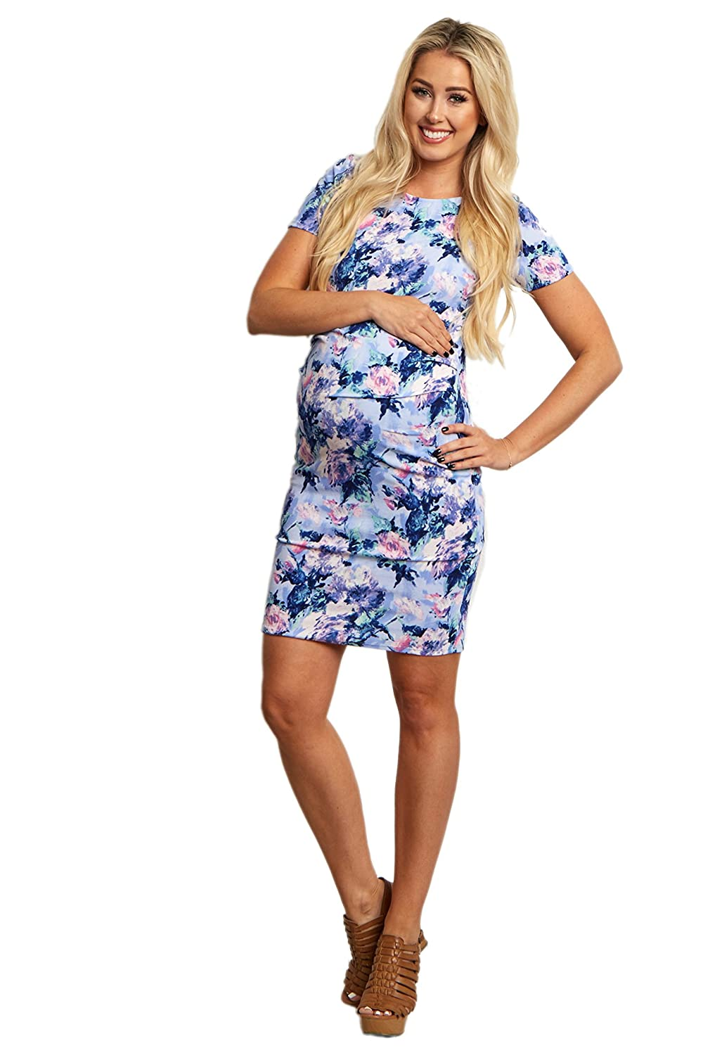 e36d8495c1 PinkBlush Maternity Blue Floral Fitted Maternity Dress