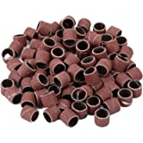 Dophee 100Pcs 1/2(inch) 80 Grit Sanding Drum Sand Bands Shank Rotary Tool Kit with 2Pcs Mandrels