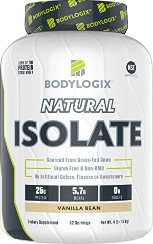 Bodylogix Natural Grass-Fed Whey Isolate Protein Powder, NSF Certified, Vanilla Bean, 4 Pound