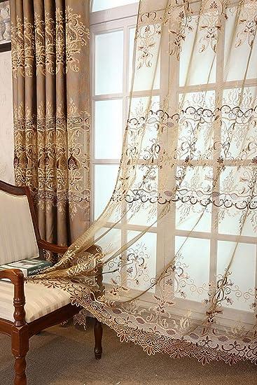 rod iron railing for interior and exterior decorations.htm amazon com pureaqu european style embroidery sheer voile curtain  sheer voile curtain